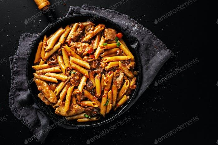Pork chunks stuffed with pasta penne