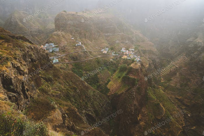 Fontaihas village. Settlement in the rocky coast of Santo Antao island. Houses nestle into the bluff