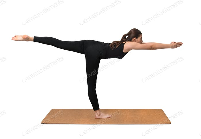 Yoga exercise, young woman pose on yoga mat