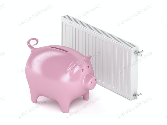 Piggy bank and heating radiator