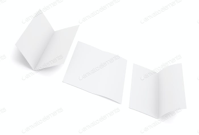 Blank white fold brochure isolated on white background, 3d illustration.