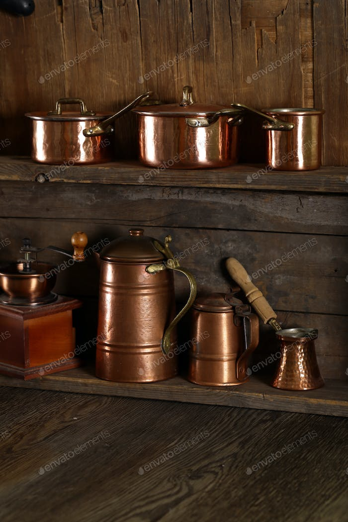 Copper Utensils, Pots, Ladle and Pan