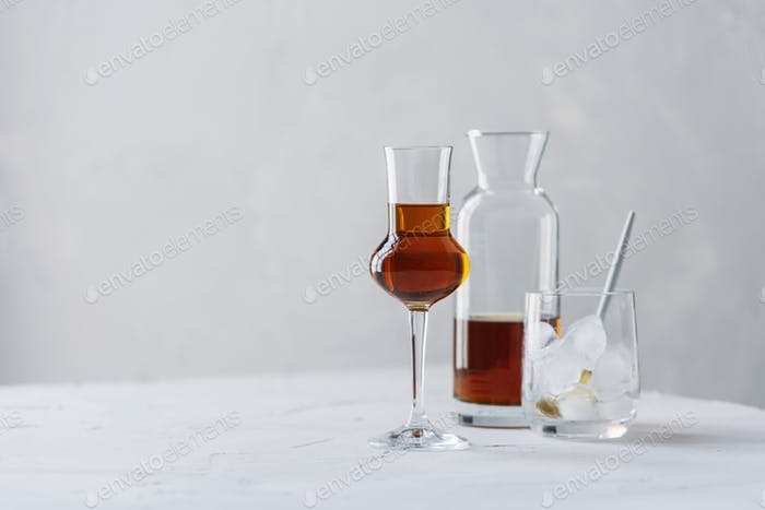 A shot of a strong ligueur with ice