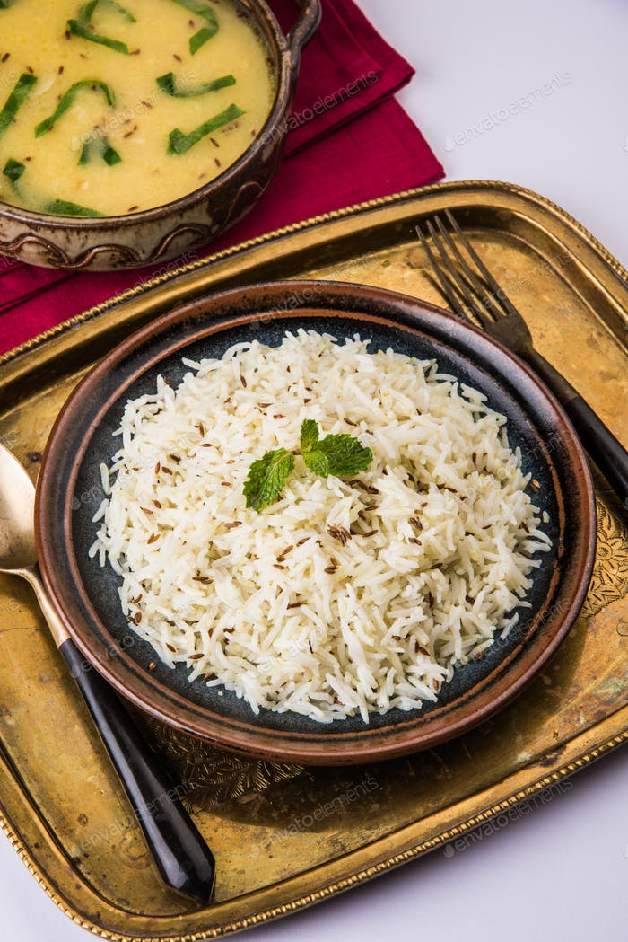 Palak Dal Fry with Rice