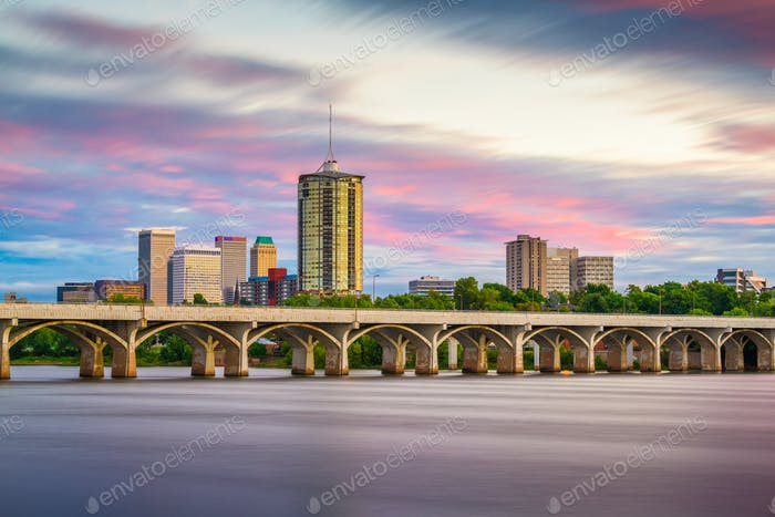 Tulsa, Oklahoma, USA downtown skyline on the Arkansas River at d