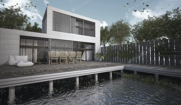 3D rendering modern house with terrace at day
