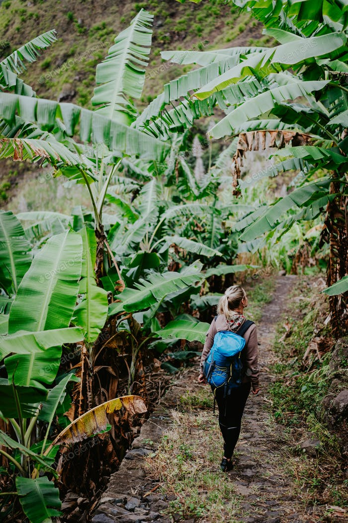 Blond young women with blue backpack walking through banana plantation on the trekking route to Paul