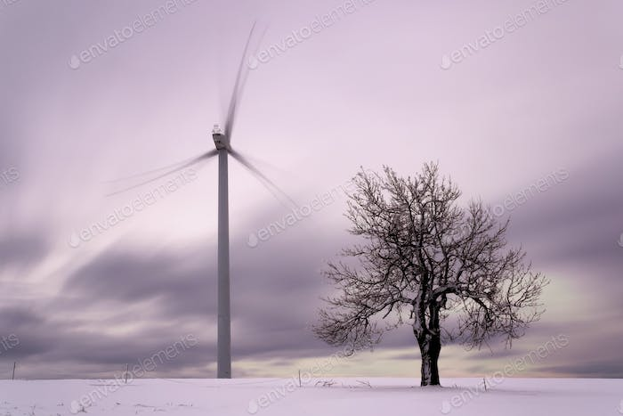 Wind power station, Ore Mountains, Czech republic