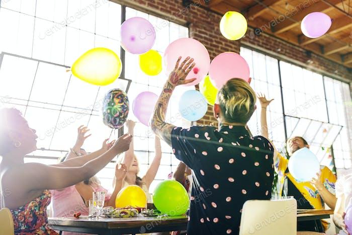 Friends at a birthday celebration