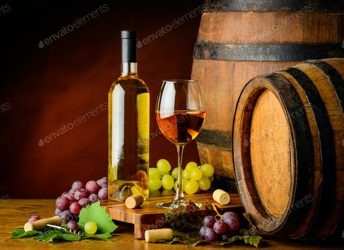 White Wine and Grapes with Barrel