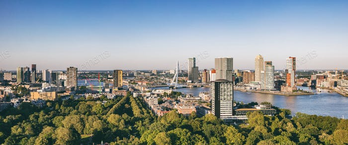 Rotterdam Netherlands cityscape and Erasmus bridge. Panoramic view from Euromast tower, sunny day