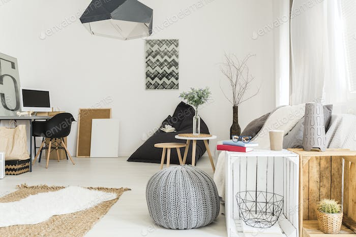 Cosy room with wooden furnitures