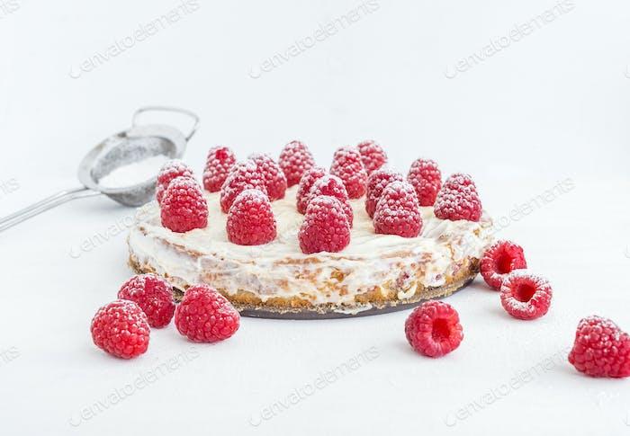 Raspberry pie on a white background