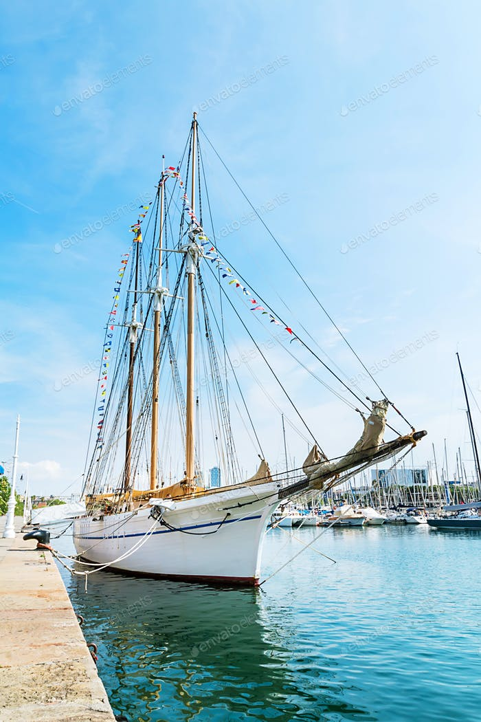 Sailing boat on Barcelona harbor