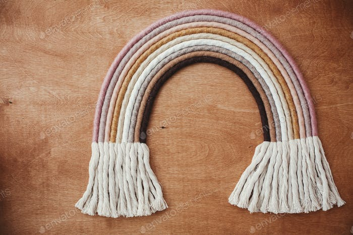 Modernes Boho Seil Regenbogen für Babyzimmer oder schlichtes stilvolles Mädchenzimmer