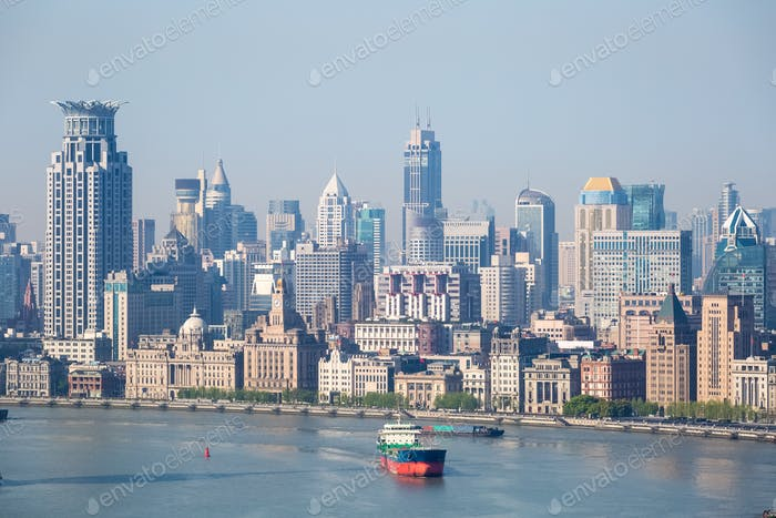 shanghai the bund cityscape closeup and huangpu river in morning
