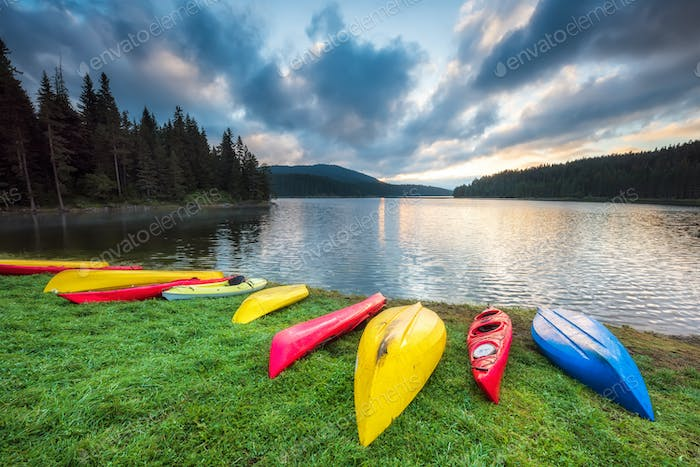 Colorful canoes on the beach