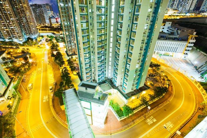 Building in Hong Kong at night