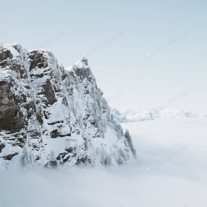 A mountain rises