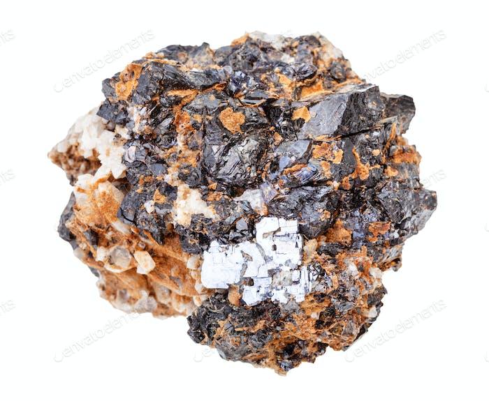 Galena und Sphalerit Kristalle auf Quarzgestein