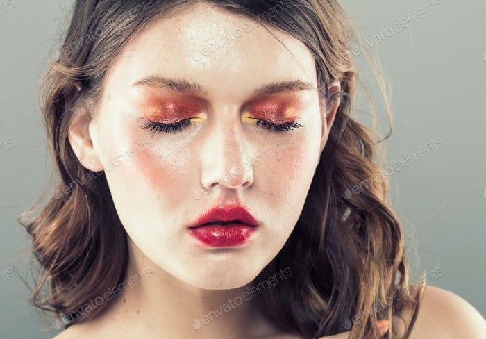 Female colorful makeup beauty fashion style