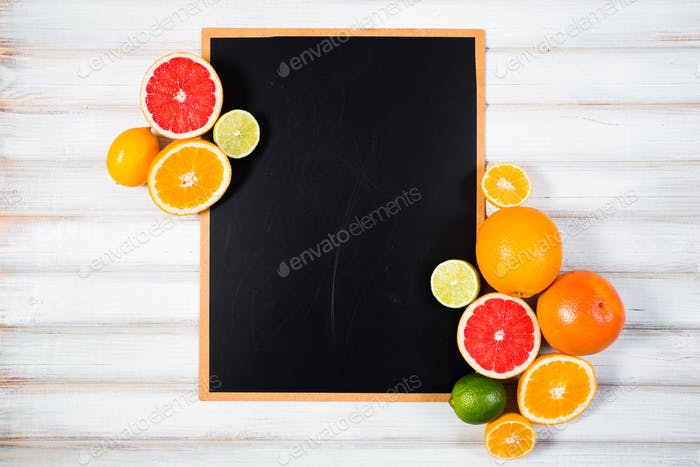 the chalkboard with fresh citrus