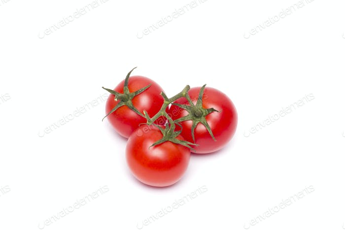 Three tomato vegetables isolated on white background cutout