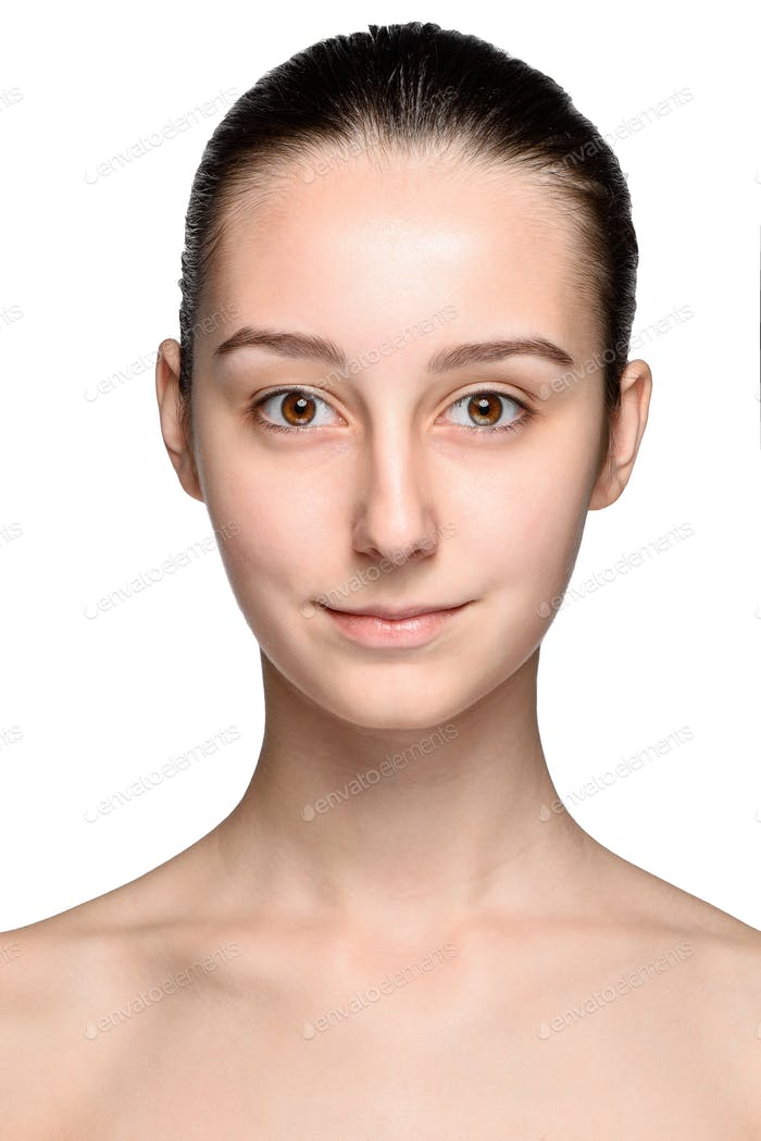 Portrait of beautiful girl with healthy skin