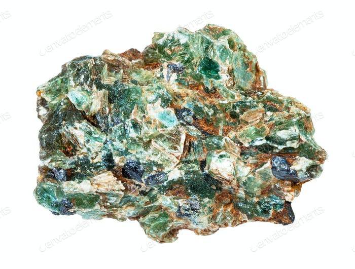 green beryl crystals in rough rock isolated