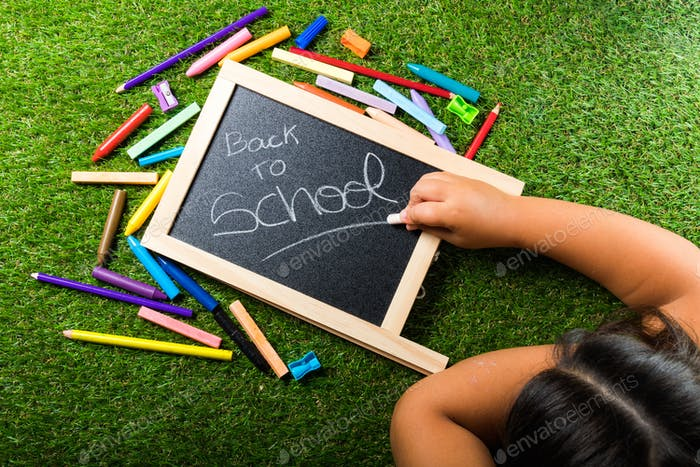 Back to school supplies arrangement vivid colorful on green grass and blackboard hand chalk