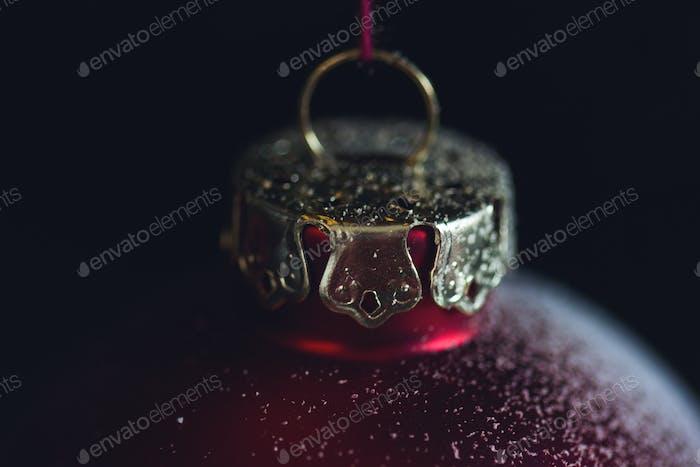 red Christmas globe macro closeup