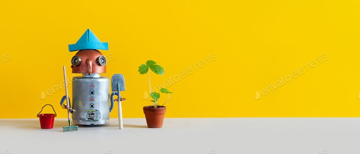 Funny mechanical toy gardener with bucket shovel rake and sprouts of wild strawberries