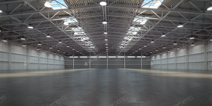 Empty warehouse interior. Storehouse building or storage room.