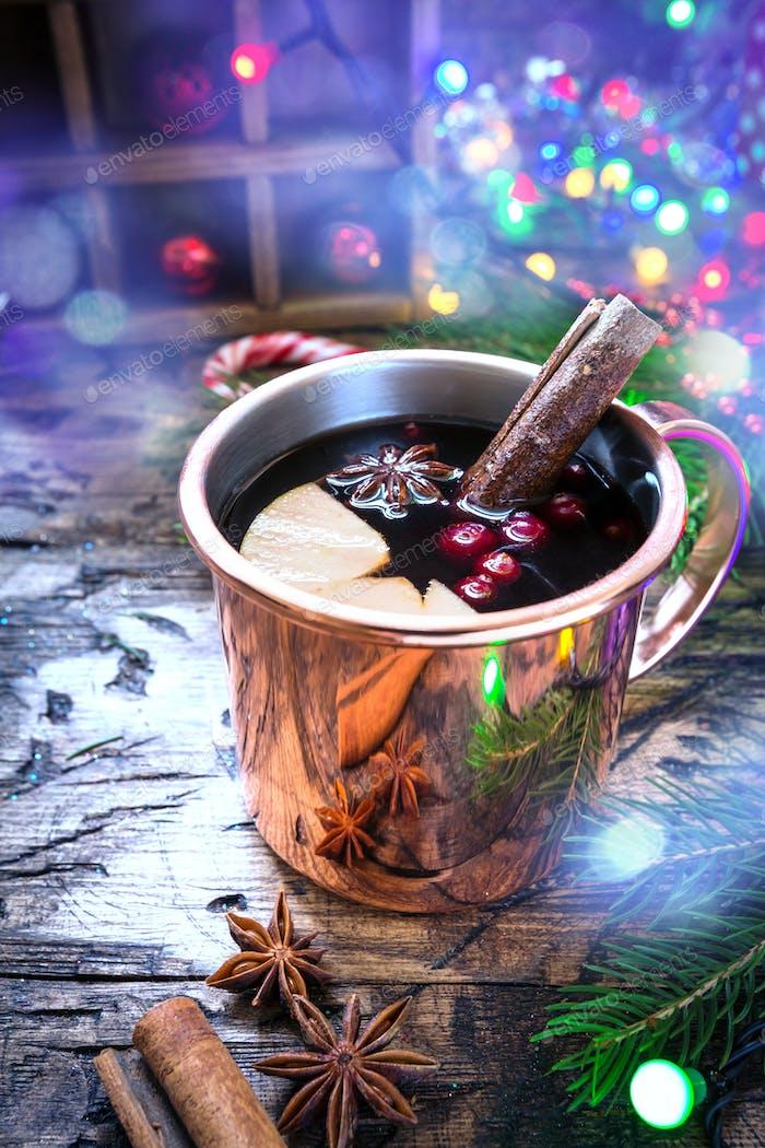 Mulled wine in copper mug.