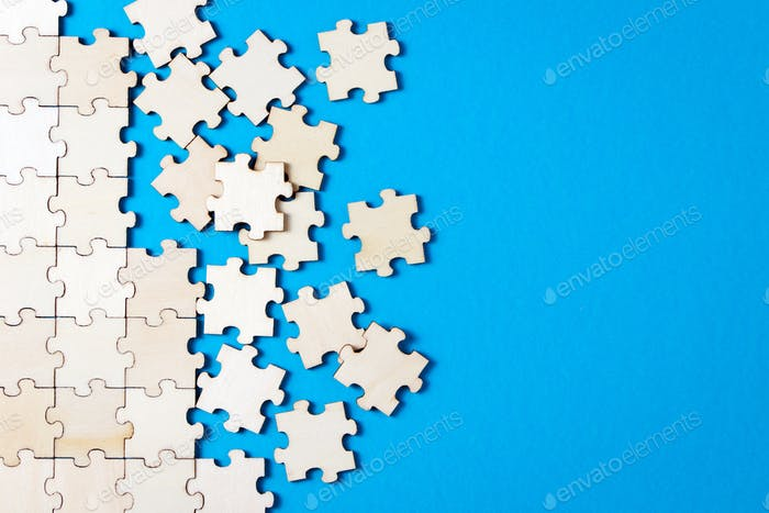 Blue background made from jigsaw puzzle