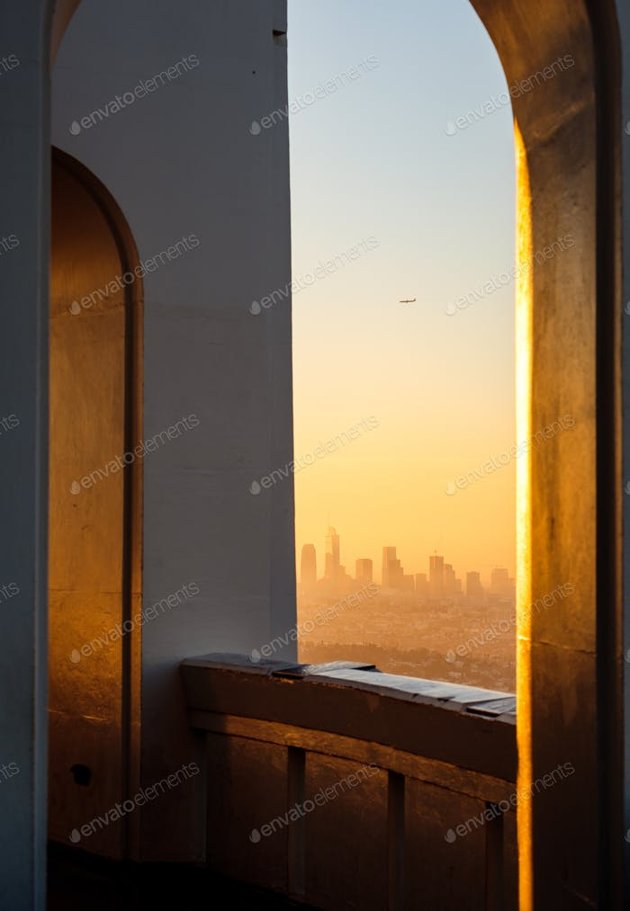 Architectural detail and Los Angeles skyline viewed from Griffith observatory