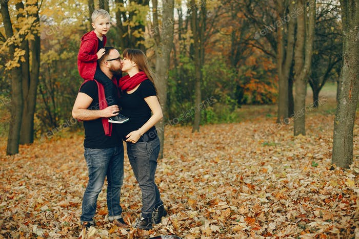 Family with little son in a autumn park