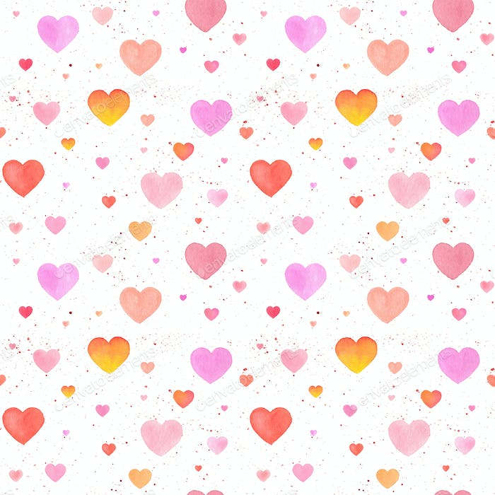 Seamless pattern with watercolor hand-drawn heart