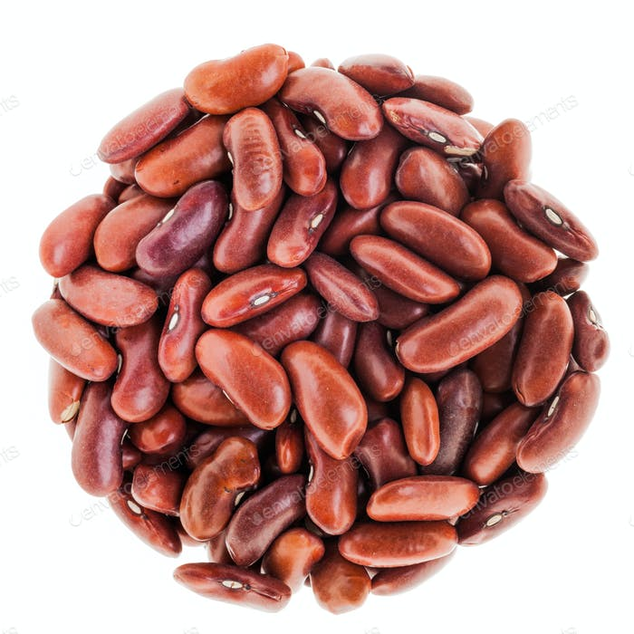 Perfect Circle of Red beans Isolated on White