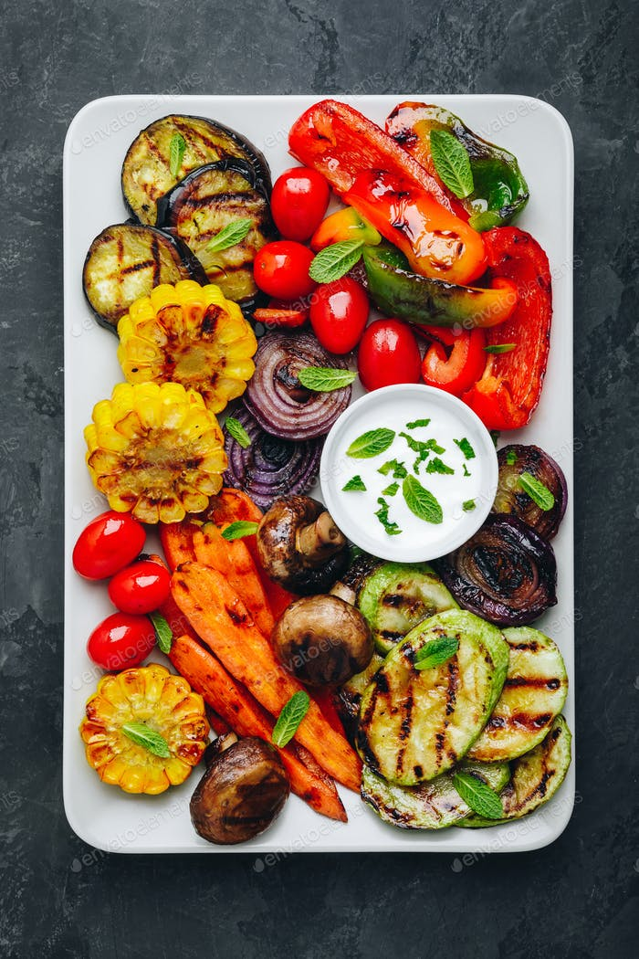 Grilled Vegetable Platter with Zucchini, mushrooms, eggplant, carrots