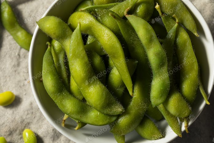 Cooked Green Organic Edamame Beans