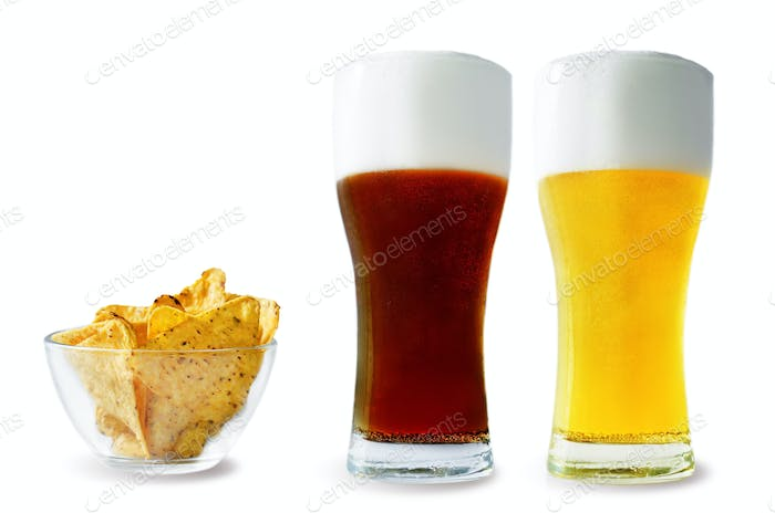 Beer list: light and dark beers with corn chips