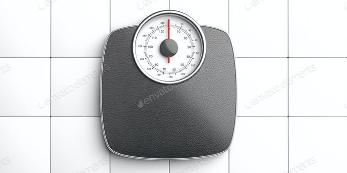 Weight scale analiog isolated on white tiles floor background, top view. 3d illustration