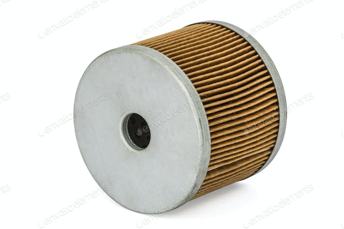 Car filter close-up, auto spare part, isolated on white, with cl
