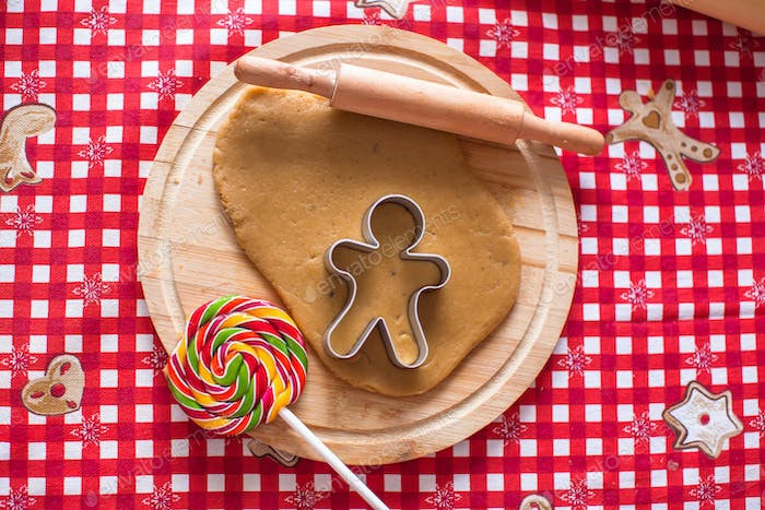 Raw gingerbread cookie dough for Christmas