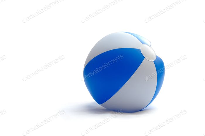 Blue toy striped ball, isolated on white