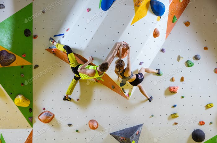 Thumbnail for Rock climbers in climbing gym.