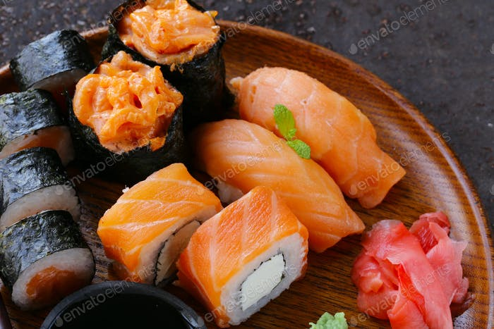 Menu Of Assorted Sushi With Salmon