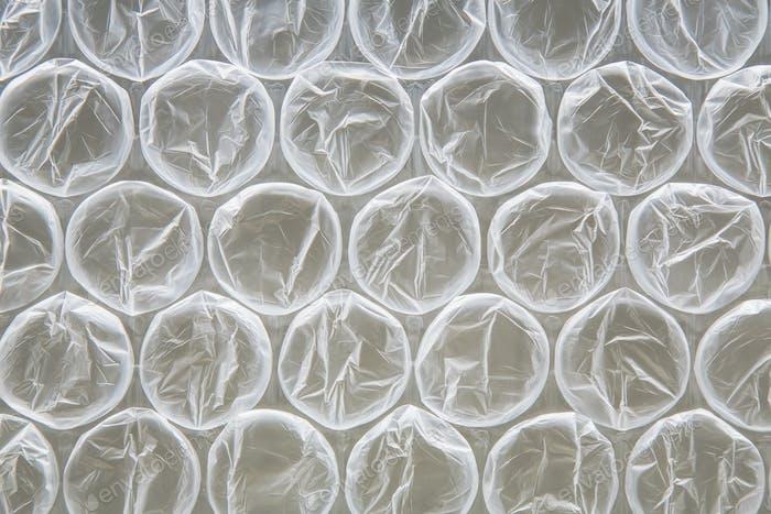 Nahaufnahme der Luftpolsterfolie, verwendet für die Verpackung