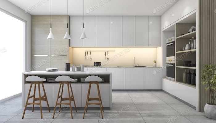 3D Rendering weiße moderne Design-Küche mit Lampe